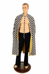 Gold & Check Reversible Hoodless Cape - Coquetry Clothing