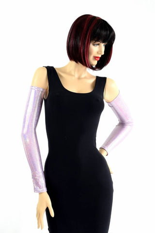 Lilac Holographic Arm Warmer Sleeves - Coquetry Clothing