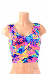 Tahitian Floral Crop Tank - Coquetry Clothing