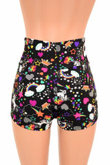 High Waist Unicorns & Rainbows Shorts - Coquetry Clothing