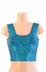 Aquamarine Fish Scale Crop - Coquetry Clothing