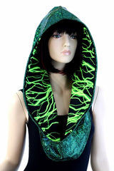 Green Holo & Green Lightning Infinity Festival Hood - Coquetry Clothing