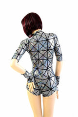 Silver Cracked Tiles Romper - Coquetry Clothing