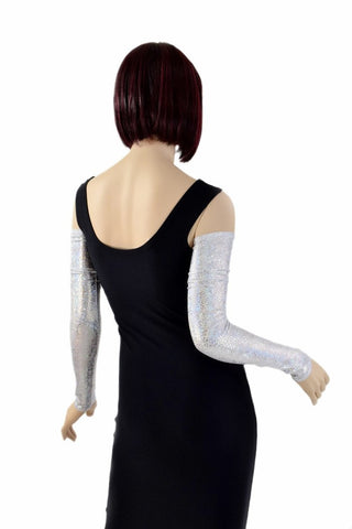 Silver/White Holographic Arm Warmer Sleeves - Coquetry Clothing