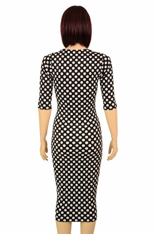 2e8fd1711ff ... Black   White Polka Dot Wiggle Dress - Coquetry Clothing
