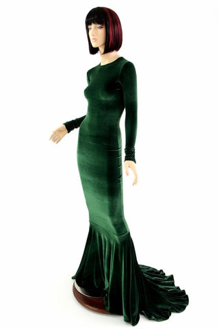 Green Velvet Long Sleeve Gown - Coquetry Clothing