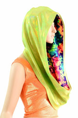 Lime & Acid Splash Reversible Infinity Festival Hood - Coquetry Clothing