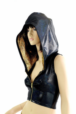 Sleeveless Zipper Black Holographic Crop Hoodie - Coquetry Clothing