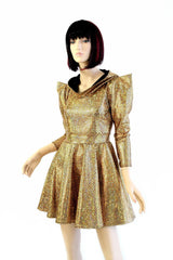 Gold Mermaid Sharp Shoulder Skater Dress - Coquetry Clothing