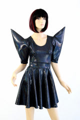 Black Mega Sharp Shoulder Skater Dress - Coquetry Clothing