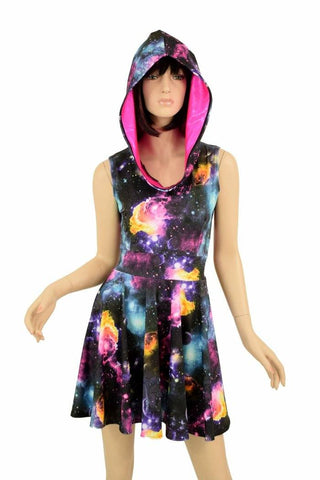 Sleeveless Galaxy Hooded Skater Dress - Coquetry Clothing