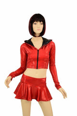 Red & Black Dragon Hoodie Skirt Set - Coquetry Clothing
