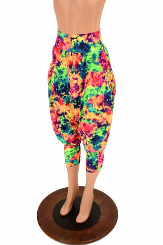 Acid Splash Drop Crotch Harem Pants with Pockets - Coquetry Clothing