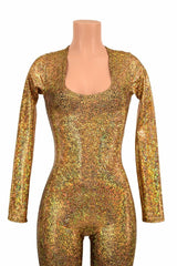 Gold Holographic Catsuit - Coquetry Clothing