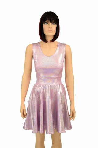 Lilac Holographic Skater Dress - Coquetry Clothing