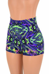 Neon Melt High Waist Shorts - Coquetry Clothing