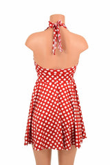 Red & White Polka Dot Halter Skater Dress - Coquetry Clothing