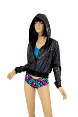 """Kimberly"" Jacket in Black Holo - Coquetry Clothing"
