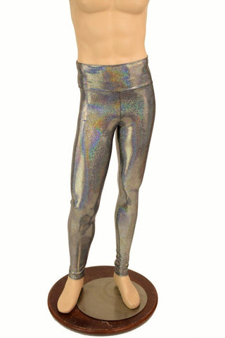 937acde070523e Mens Silver Holographic Leggings - Coquetry Clothing