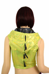Lime Holo Zippered Dragon Crop Top - Coquetry Clothing