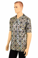 Mens Silver Cracked Tile V Neck Shirt - Coquetry Clothing