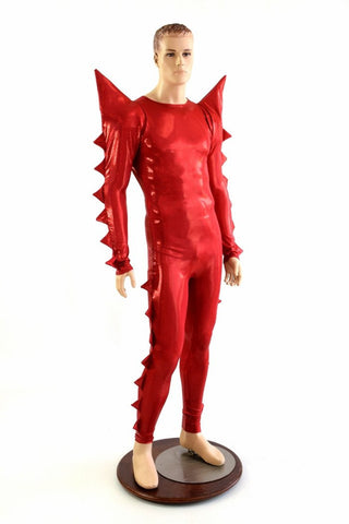 """Sebastian"" Spiked Mega Sharp Shoulder Catsuit - Coquetry Clothing"