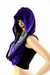 Purple Velvet & Glow Worm Reversible Infinity Festival Hood - Coquetry Clothing