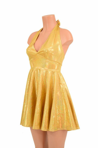 Gold Sparkly Halter Skater Dress - Coquetry Clothing