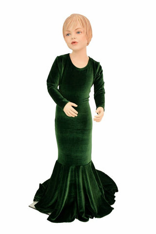 Girls Green Velvet Gown - Coquetry Clothing
