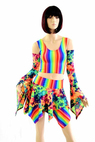 Pixie Day-Tripper Set in Acid Splash & Rainbow - Coquetry Clothing