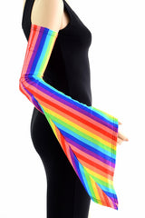Rainbow Vertical Stripe Pixie Arm Warmer Sleeves - Coquetry Clothing