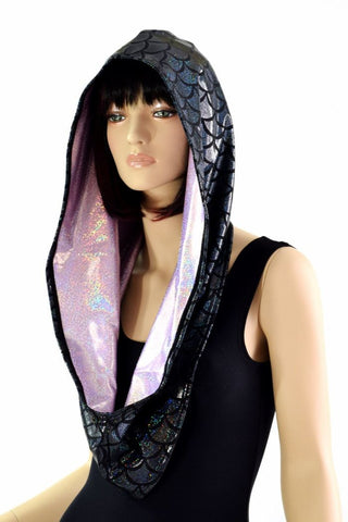 Black Scale & Lilac Reversible Infinity Festival Hood - Coquetry Clothing