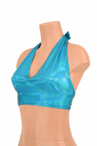 Darted Tie Back Halter in Peacock Holographic - Coquetry Clothing