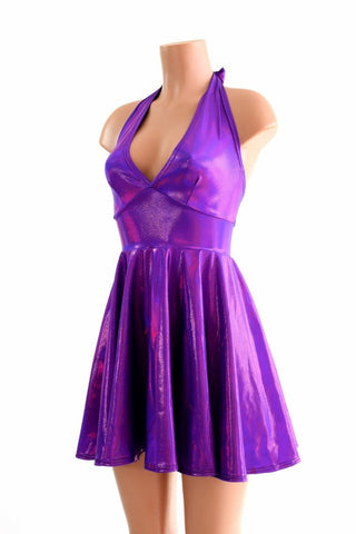 Grape Holographic Halter Skater Dress - Coquetry Clothing