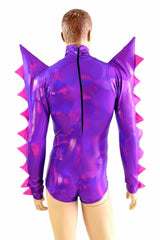 Grape Holographic Spiked Romper - Coquetry Clothing