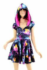 Galaxy Zipper Front Skater Dress - Coquetry Clothing
