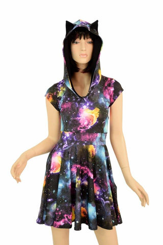 Cap Sleeve Galaxy Cat Skater Dress - Coquetry Clothing