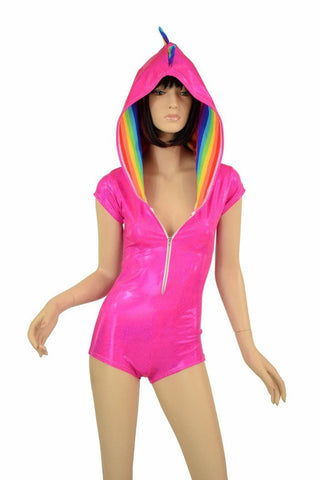 Pink & Rainbow Dragon Hoodie Romper - Coquetry Clothing