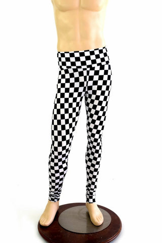 Mens Leggings in Black & White Checkered - Coquetry Clothing