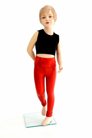 Kids Red Sparkly Jewel Leggings - Coquetry Clothing