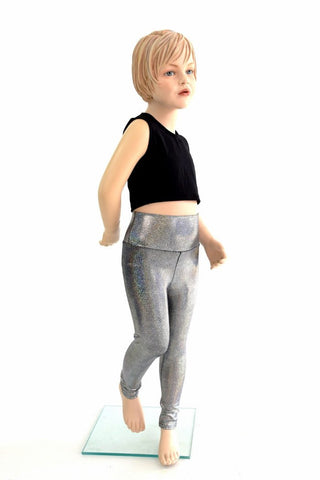 Kids Silver Holographic Leggings - Coquetry Clothing