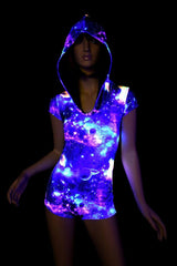 UV Glow Galaxy Hoodie Romper - Coquetry Clothing