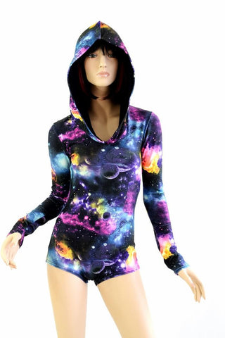 Galaxy Long Sleeve Hoodie Romper - Coquetry Clothing