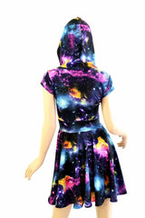 Cap Sleeve Galaxy Hooded Skater Dress - Coquetry Clothing