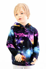 Childrens Galaxy UV Glow Long Sleeve Hoodie - Coquetry Clothing
