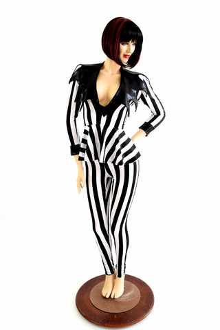 2PC Black & White Stripe Peplum Top & Leggings Set - Coquetry Clothing