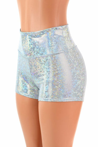 Frostbite Holographic High Waist Shorts - Coquetry Clothing