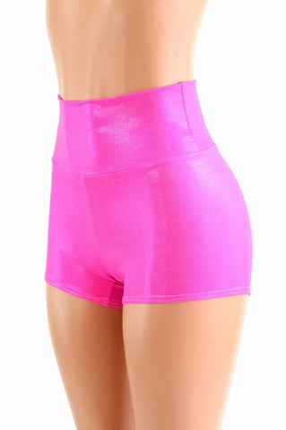 High Waist Neon Pink Holographic Shorts - Coquetry Clothing
