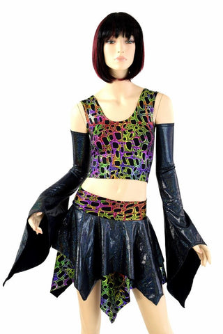 Pixie Day-Tripper Set in Black Holo & Poisonous - Coquetry Clothing