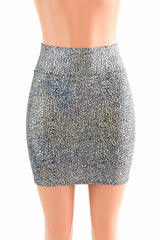 Silver Shattered Glass Bodycon Skirt - Coquetry Clothing